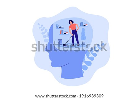 Tiny person cleaning space inside human head, moping floor. Person working on clear mind and mental detox metaphor. Vector illustration for mental health improvement, sanity, self care concept ストックフォト ©