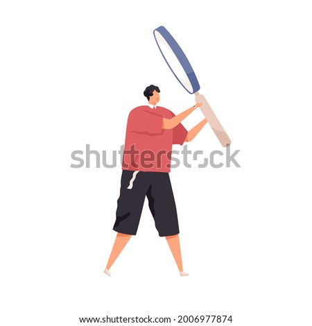 Tiny person investigating and looking for smth. with magnifying glass. Concept of research, analysis and finding solutions. Flat vector illustration of curious man isolated on white background