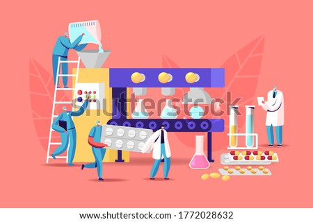 Tiny Pharmacist Characters at Huge Production Line Machine Conveyor Belt with Glass Beakers and Pills, Pharmaceutical Industry Medical Drugs Producing at Factory. Cartoon People Vector Illustration