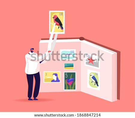 Tiny Philatelist Male Character Holding Huge Stamp in Tweezers near Album with Collection. Man Collecting Postal Stamps. Philately Hobby, Rarity Postmarks Examine. Cartoon Vector Illustration Сток-фото ©