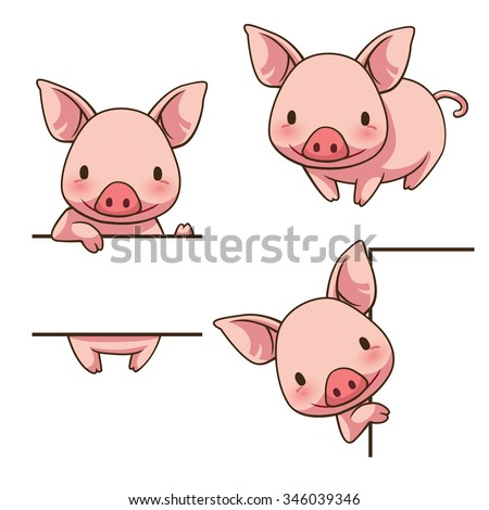 Tiny Piggy sign board, vector art and illustration. Stock photo ©