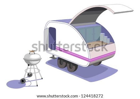 Tiny teardrop trailer- Parked and ready to cook supper, haul behind your car -a fun way to go camping. Vector with no gradients or 3D effects, easy to edit!