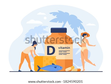 Tiny women eating fatty fish, vitamin D, cheese and sunbathing flat vector illustration. Cartoon ladies using food supplements for deficiency reduction. Wellbeing and health concept Foto stock ©