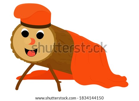Tio de Nadal, or Christmas Log isolated on white. Christmas tradition character in Catalonia and Spain. Vector cartoon illustration Zdjęcia stock ©