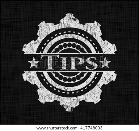 Tips chalkboard emblem on black board