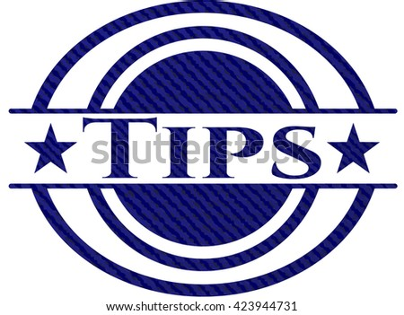 Tips emblem with jean background