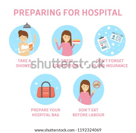 Tips for expectant mother how to prepare for hospital. Guide for pregnant woman befor child birth. Preparation for baby delivery. Motherhood and healthcare. Isolated flat vector illustration