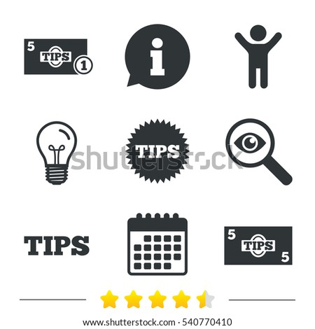 tips icons. cash with coin...