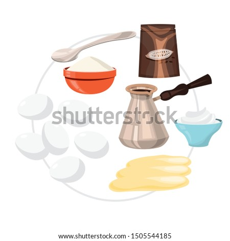 Tiramisu ingredients. Cooking dessert at home. Sweet ingredient for the pie. Delicious culinary. Isolated vector illustration in cartoon style