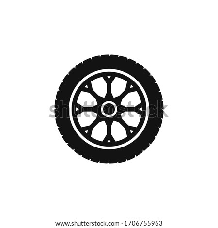 Tire and wheel icon flat vector design