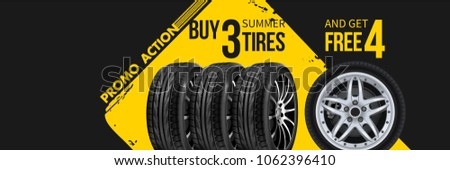 Tire car advertisement poster. 3D illustration of car tire. Wheel. Black rubber tire. Realistic vector shining disk car wheel tyre. Aluminum wheels. Banner. Promo. Information. Store. Banner. Action.