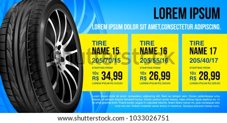 Tire car advertisement poster.  Mock-up. 3D illustration of car tire. Wheel. Black rubber tire. Realistic vector shining disk car wheel tyre. Aluminum wheels. Banner. Promo. Information. Store. Sa