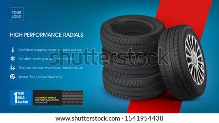 Tire car set poster. 3D illustration of car tire. Wheels. Black rubber tire. Realistic vector shining disk car wheel tire. Aluminum wheels. Banner. Promo.