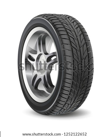 Tire car vector isolated on white background. 3D icon.  Car summer wheel. Black rubber tire. Realistic detailed tire design. Aluminum wheel illustration. Car disk wheel. High quality.