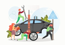 Tire change and car repair services. Mechanic, technician cartoon characters replacing winter tires, flat vector illustration. Tyre repair and maintenance. Car workshop.