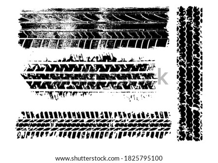 Tire mark. Car and motorcycle tire track vector set. Truck tread mark on the road concept. Vector tire mark from different tread type of car and moto wheel