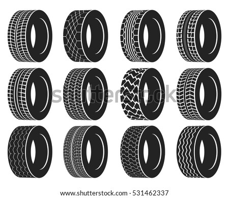 Tire or wheel for truck or bus, automobile tyre. Winter protector isolated or transport icons, tractor tyre with track. Vulcanization or garage, rally sport or tire mount, car maintenance logo