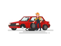 Tire service. Worker changing a punctured tire a passenger car. Vector illustration of a flat design