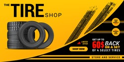 Tire shop, auto service and car wheel tyre store vector design. Pile of automobile black rubber tires advertising banner with tracks of wheel trade and discount price offer