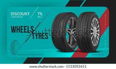Tire shop discount coupon. Voucher ticket card. Voucher on tire auto service repair and maintenance, swapping wheel replacement. Realistic Tyre vector. Creative sale layout.