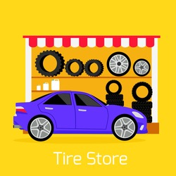 Tire store automobile flat concept. Mechanic service, transport car, repair wheel, auto vehicle transportation,  maintenance and tyre, rubber and quality illustration