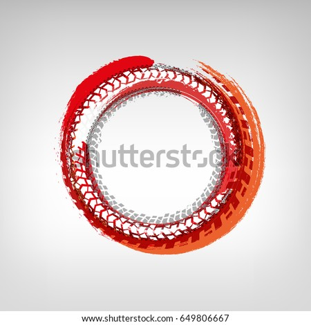 Tire track circle grunge frame. Digital vector illustration. Background element useful for poster, print, flyer, booklet, brochure and leaflet design. Graphic image in white, orange and red colors.