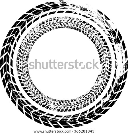Tire Track Vector Round Border Frame .