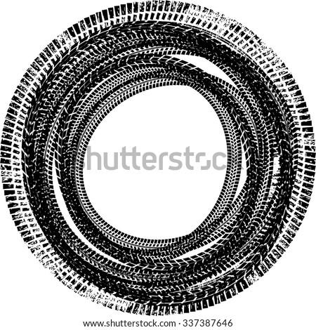 royalty free tire track vector round border frame 338674886 stock rh avopix com
