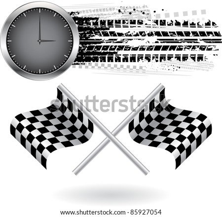 Tire track with two flags and clock