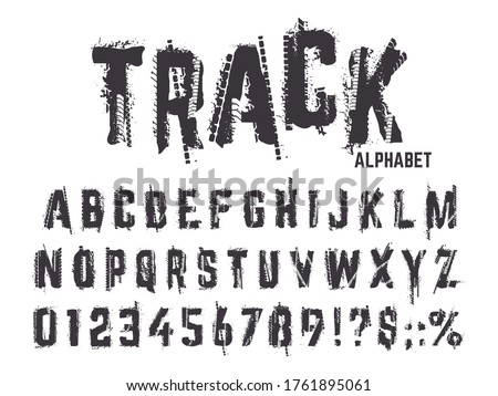 Tire tracks alphabet. Grunge texture treads letters and numbers, typography car wheel tire tracks lettering abc isolated vector symbols set. Alphabet and abc type, black tire textured illustration