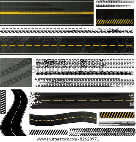 Tire tracks and roads collection - stock vector