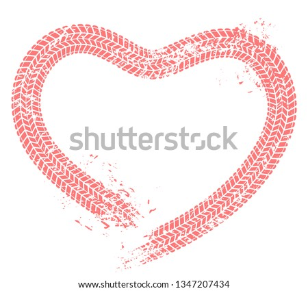 Tire tracks heart. Motorist love, hearts tire track and motor car enthusiast valentines card. Wheels tires treads love heart vehicle silhouette. Grunge vector isolated illustration