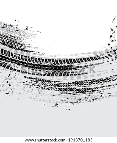 Tire tracks, motorcycle bike wheels or car tread marks, vector grunge. Bicycle or motocross road rally tyre track prints, motors speeds races rubber trails pattern, tires traction on black mud
