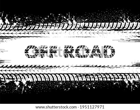 Tire tracks, off road car wheels or truck grunge prints, vector. Motorcycle or car truck tire tracks and tread trails on black dirty mud, rally and sport tyre rubber marks, motocross traces Stockfoto ©