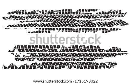 Tire tracks set with dirty grunge texture. Wheel tyre tread print. Vector illustration. Foto stock ©