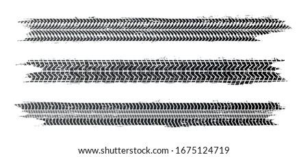 Tire tracks, vector illustration, grunge.