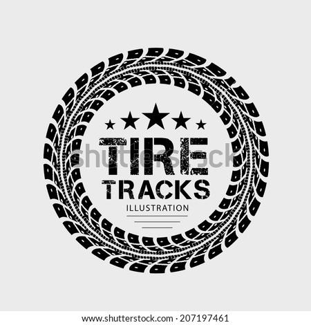 Tire tracks. Vector illustration on grey background