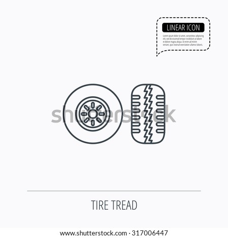 Stock Vector Tire Tread Icon Car Wheel Sign Linear Outline Icon Speech Bubble Of Dotted Line Vector