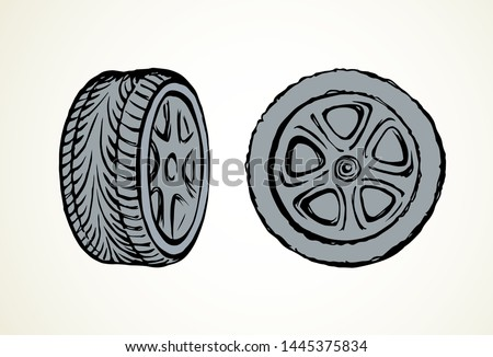 tire vector drawing icon