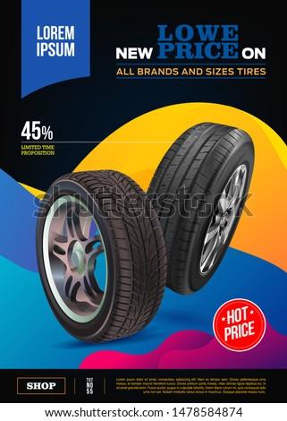 Tire vector. Vector automotive banner template. Black rubber illustration. Advertising poster, digital banner, flyer, booklet, brochure, web design. Promo. Information. Store. Action. Realistic vector
