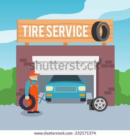 Tire wheel service shop garage with car and mechanic flat vector illustration