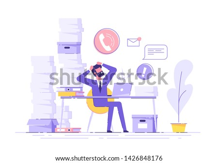 Tired and exasperated office worker is grabbed his head among piles of papers and documents. Stress in the office. Rush work. Modern vector illustration.