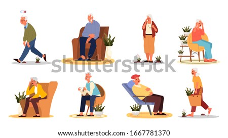 Tired and sleepy old man and woman. Eldery people with lack of energy. Grandmother and grandfather sitting in armchair or standing and feeling weak. Vector illustration in cartoon style