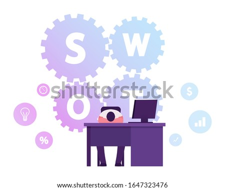 Tired Businessman Lying on Desk with Pc Monitor on SWOT Typography on Background, Analysis, Strengths, Weaknesses, Opportunities, Threats Concept. Corporate Strategy. Cartoon Flat Vector Illustration