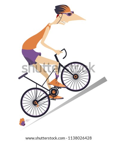Tired cartoon cyclist man in helmet overcomes a steep ascent isolated on white illustration vector