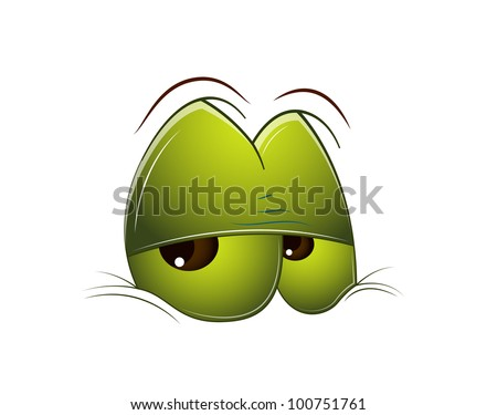 Tired Cartoon Eye - stock vector
