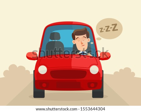 Tired driver fell asleep at the wheel. Sleeping driver, emergency dangerous situation on the road. Unwell, sick car driver. Vector illustration, flat design cartoon style.