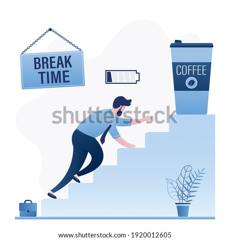 Tired employee crawls up stairs for cup of coffee. Break time, businessman with low battery. Coffee to go. Timeout after hard work. Overwork concept. Funny male character. Flat vector illustration Stock photo ©