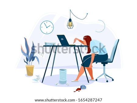 Tired female office worker sitting on the chair and trying work at the computer. Burnout concept vector background. Business flat cartoon illustration isolated on white backdrop.