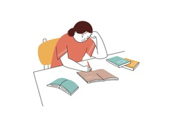 Tired girl study with books. Hard learning with a lot of information, preparation for exams, strain, stress. Back to school concept. Vector illustration colored with lines.
